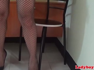 Transpinay ladyboy wanks off until she cums