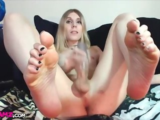 Blonde femboy huge dick feet toying