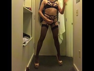 sexy sissy crossdresser lingerie posing