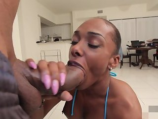 Black Shemale Takes a Painfully Big Cock