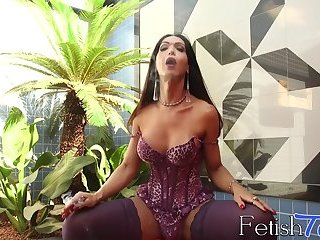 Sensual striptease with a hot tranny in sexy lingerie