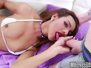 Latin tgirl Laura Sky sucks cock and is barbacked by a guy