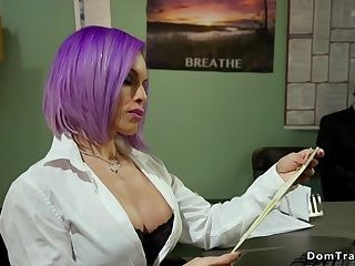 Tranny secretary fucks deep throat guy