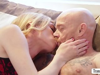 Pretty blonde  TS Mandy bangs trans man Bucks wet pussy
