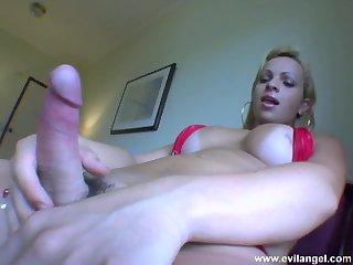 Blonde latina tgirl strips and masturbates