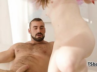 Tgirl rides with bouncing dick