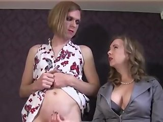 Misstress makes crossdresser cum