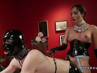 Tranny anal fucks slave with gimp mask