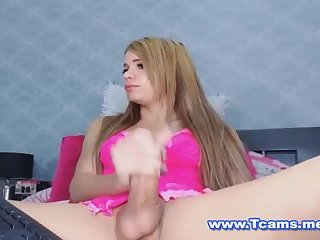 Cute Teen Tranny Stroking her Massive Hard Dick