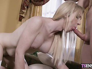 Busty model shemale anal fucked by an old rich artist guy