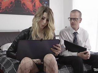 Hot blonde shemale wears stockings fucks her assistant