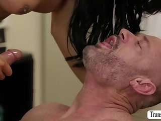 TS Chanel fucks her hung customer tight ass from behind