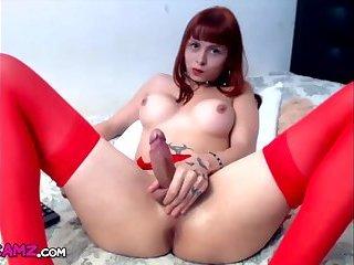 Redhead tranny stockings jerks big cock Online