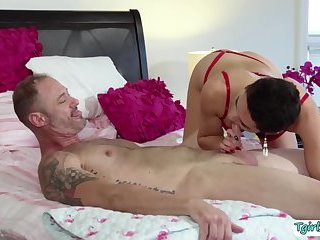 Shemale slut Alisia bends over in a hot bunghole pounding