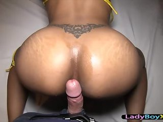 Sexy bikini and bareback ladyboy breeding POV style