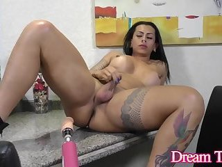 Tattooed Shemale Isabelly Ferreira Takes a Massive Dildo Up Her Tailpipe