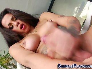 Sexy tgirl masturbates