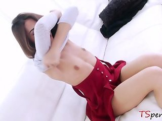 Big cocked stud fucks a petite ladyboy
