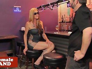 Tattooed trans goddess POV fucked at a bar