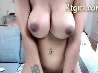 Busty tranny hottie tugs her cock