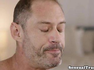 Mature tranny gets anally banged