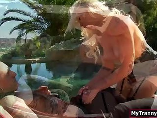 Trans Aubrey Kate get some wine and gets her juicy ass fucked by bfs