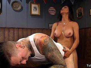 Tranny and inked guy anal fucking