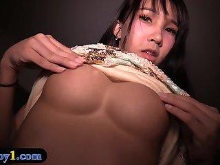 Amateur ladyboy with big tits bareback anal fucked