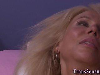 Trans babe gets rimmed