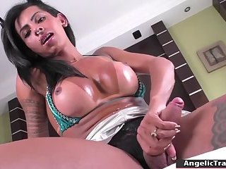 Busty trans Isabella Ferreira gets her juicy ass fucked by dildo