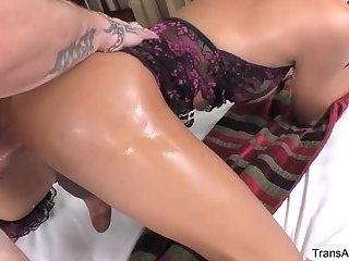 Gorgeous blonde trans babe Vivi gets her ass penetrated