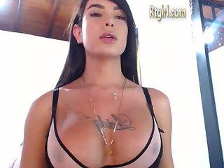 Horny long hair tranny with big dick teasing you hard