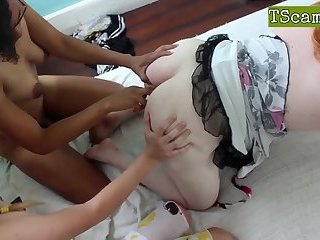 Three t-girls in wild shecock sucking and fucking