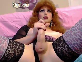American Blonde Mature Tranny Strokes Her Cock