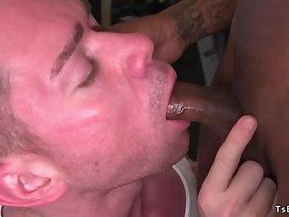 Curved black tranny anal fucks guy