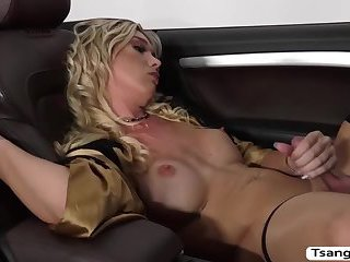Transbabe Aubrey Kate gets bang in the ass by some dudes cock