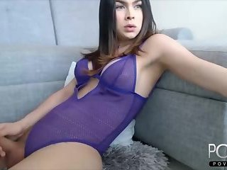 Sexy big tits latina shemale big cock jerking
