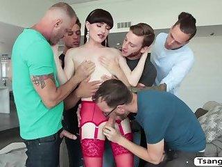TS Natalie Mars loves orgy with 5 huges hard cocks