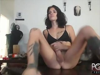 Cute femboy jerks big dick webcam