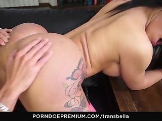 TRANS BELLA - Wild Italian sex with naughty brunette Brazilian tranny Kelly Cesario