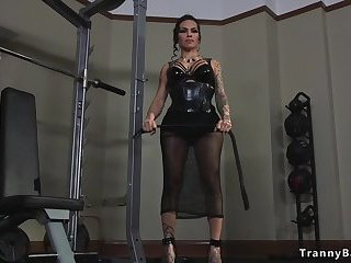 Tranny mistress trains dude to take cock