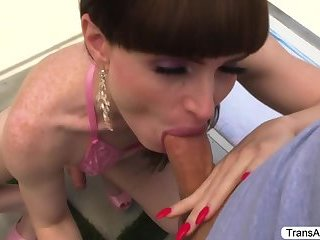 Cute Tgirl Natalie gets pounded outside by her sweetheart