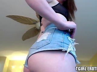 Gorgeous tranny Natalie Mars sticks two toys into her ass