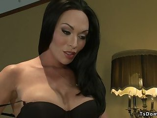Huge tits shemale anal fucks slave male