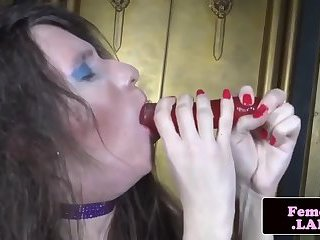 Femboi beauty enjoys playing with sextoy