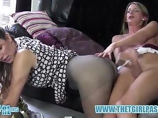 Ladyboy hooker Cums On Nylon hose arse