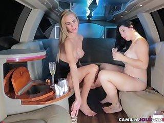 Tranny bangs girl in limo