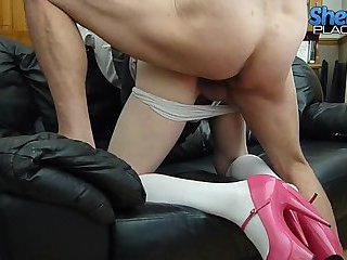 Punishing CD girl with wipe and dick in ass