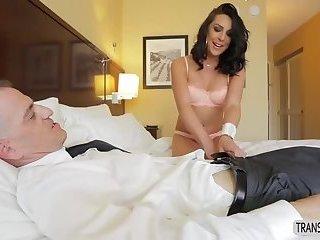 Pretty Shemale Chanel Santini fucks hard on bed