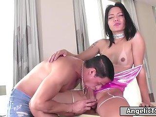 Big cock Brazilian tgirl sucked and bareback anal rides cock